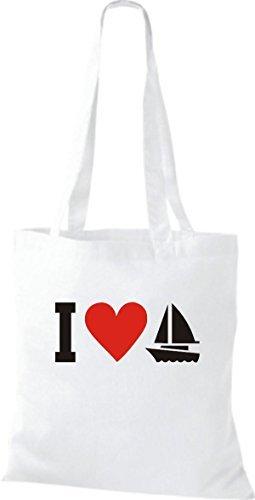 JUTA Borsa di stoffa I LOVE barca a vela, capitano, SKIPPER Bianco