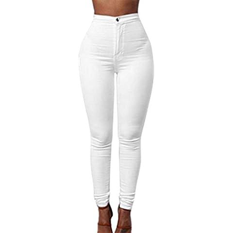 Ularma Pantalones de las mujeres, casuales pantalones de mezclilla Jeans Color sólido
