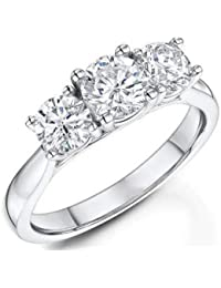 Addamas 1.00Ct Round Cut Real Diamonds Wedding, Engagement Rings for Women's, Girls, Ladies 14K, 18K White Gold Unique Ring Valentines gifts for Her