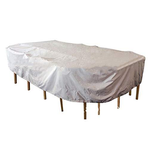 PENGFEI Housse Protection Salon De Jardin Plein Air Table Basse Étanche À La Poussière Crème Solaire Imperméable, Rectangle, Argent + Noir (taille : 235X135X94CM)