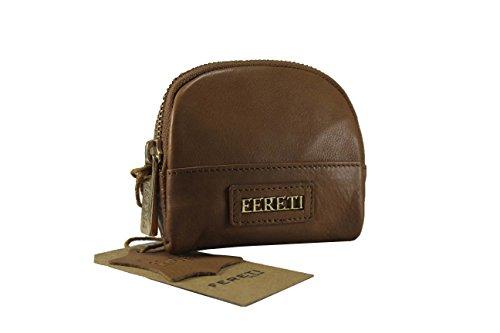 FERETI Porte monnaie marron en cuir pour femme avec fournitur or fabriqué à la main