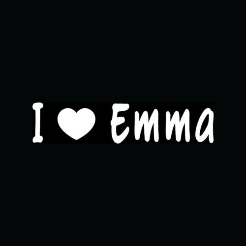I Love Emma Decal Vinyl Sticker Cute Girlfriend Boyfriend Heart Gift Teen Young - Die Cut Vinyl Decal for Windows, Cars, Trucks, Tool Boxes, laptops, MacBook - virtually Any Hard, Smooth Surface (Young Cute Teen)