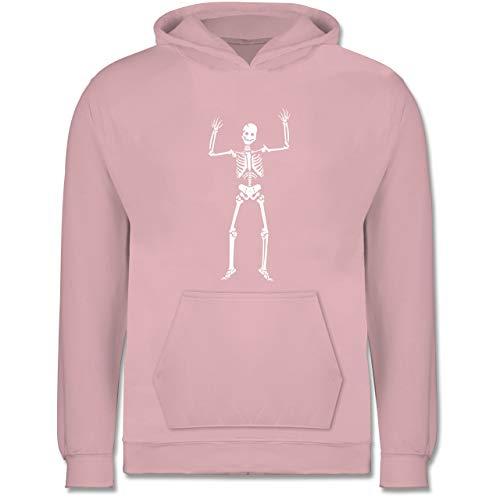 Shirtracer Anlässe Kinder - Skelett Skeleton - 9-11 Jahre (140) - Hellrosa - JH001K - Kinder Hoodie (Die Besten Halloween-kostüme 2019 Jungs)