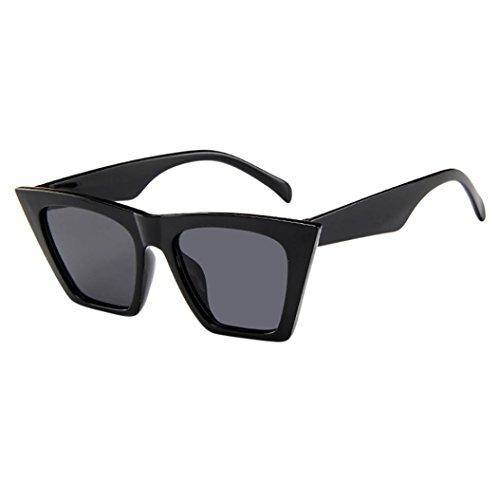 Neu Mode Damen Damen Übergroße Sonnenbrille Vintage Retro Cat Eye Sonnenbrille (Schwarz) (Schwarze Und Weiße Vintage Cat Eye Brille)