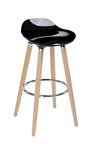 Bar stool with natural beech legs and BLACK seat - Scandinavian style, modern and refined look
