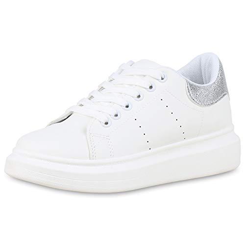 SCARPE VITA Damen Plateau Sneaker Leder-Optik Turnschuhe Schnürer 180042 Weiss Silber 38 (Leder Plattform Weiß Sneakers)