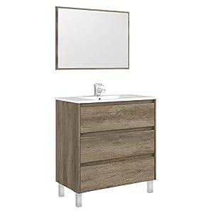 Miroytengo Mueble Lavabo con 3 cajones y Espejo a Juego, para baño Aseo en Color nordik con Cierre Progresivo diseño Moderno 80x45x86 cm Incluye LAVAMANOS CERÁMICO