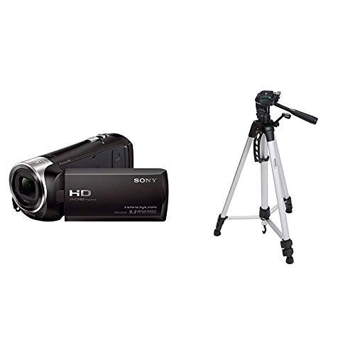 Sony HDR-CX240E - Videocámara, Color Negro & AmazonBasics - Trípode Ligero Completo (Bolsa, Cabezal panorámico de 3 Posiciones, Zapata rápida), Color Negro