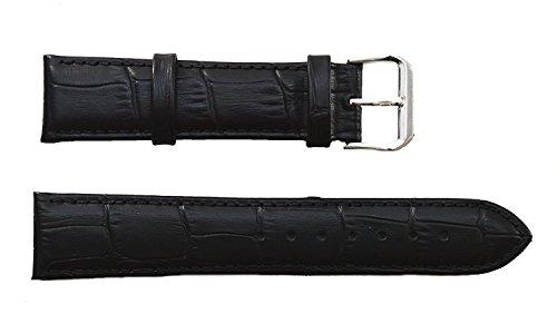 Uhrarmband aus Alligator-Vollleder, hochwertig, robust, Schwarz, mit Schnalle aus Edelstahl (Gr. 24, 26, 28, 30mm) 30mm