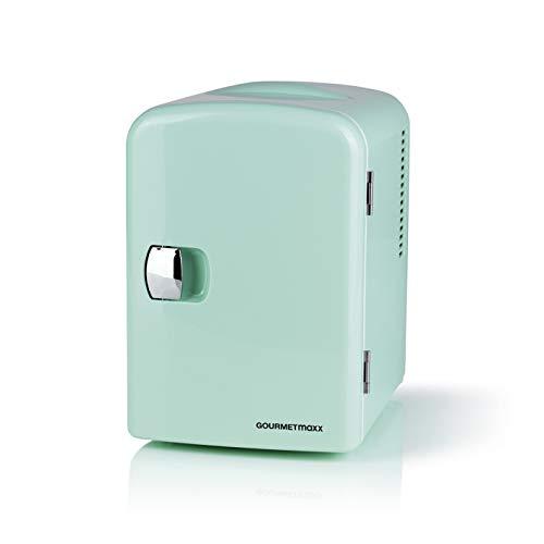 GOURMETmaxx Mini-Kühlschrank Retro | Bar Kühlschrank für Getränke und Snacks | Zum Kühlhalten von Alkohol, Essen oder Erfrischungsgetränken [Mint]