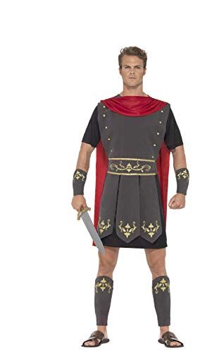 Smiffys 45495L - Herren Römischer Gladiator Kostüm, Tunika, Umhang, Arm und Bein Stulpen, Größe: L, schwarz