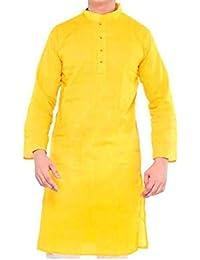 Malaco Enterprises Men Solid Straight Kurta Yellow