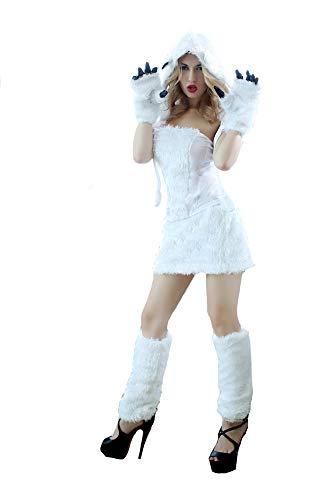 XSQR Sexy Halloween Catwoman Cosplay Weiße Katze Mädchen Kostüm Stern Sängerin Bühnenkleid
