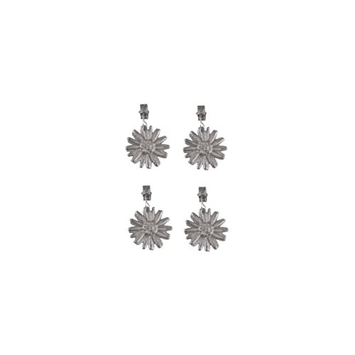 Set aus 4 Stück soliden Tischdeckengewichte Tischdeckenbeschwerer Tischtuchbeschwerer gegossen und verzinkt in Blumenform Edelweiß (4er) (Eisen Einheitliche)
