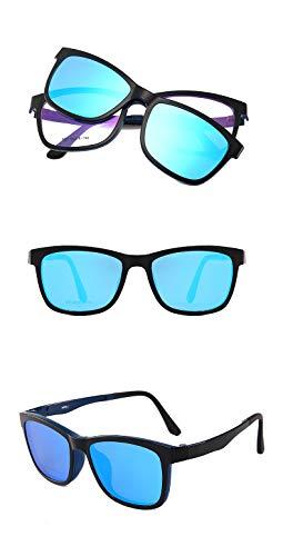 LKVNHP Neue Hochwertige Mode Magnetische Polarisierte Sonnenbrille Männer Frauen Clip Auf Tag Nacht Fahren Sonnenbrille Für Verschreibungspflichtige Fahrer Uv400Schwarz RahmenEisblau