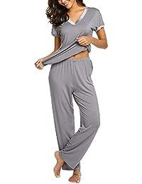 c23a7c27ba MAXMODA Damen Pyjama Set mit farblich abgesetzten V-Ausschnitt Shirt Kanz  Schlafanzug