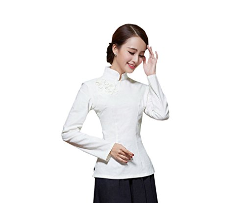 ACVIP Rétro Veste de Tang Chemise Devant Fleur Blouse à Manche Longue Style Chinoise pour Femme, Plusieurs Couleurs Blanc