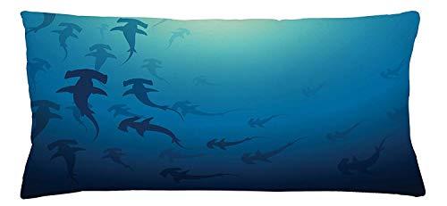 EUEI Sea Animals Throw Pillow Cushion Cover, Hammerhead Shark School Scan Ocean Dangerous Predator Wild Nature Illustration, Decorative Square Accent Pillow Case, 18 X 18 inches, Navy Blue -