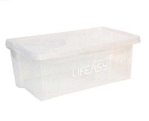 Garage Storage-base (Lifeasy - 10 Quart / 9 Liter Aufbewahrungsbox Schuhfach, Clear White, 6er Pack)