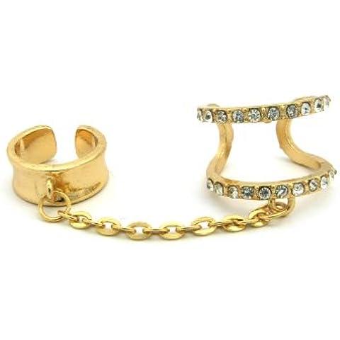 Catena Concave e strass moda anelli in oro tono jr3023gdclr