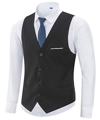 Yingqible Herren Anzugweste Weste V-Ausschnitt Ärmellose Westen Slim Fit Anzug Business Hochzeit Smoking Sakko Weste Elegant,M (Tag Size 3XL),  Schwarz -