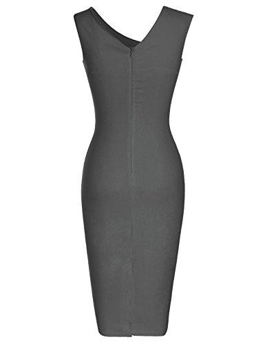MUXXN Jupe fourreau femme longueur genou decollete V de l'annee 50 et de style classique Grey