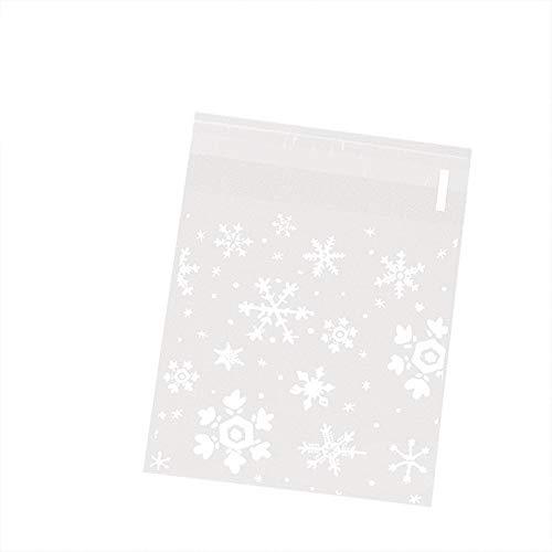 MoGist Lot de 100 sachets Auto-adhésifs en Plastique Motif Flocons de Neige Blanc, Weiss M, 10 * 10cm+3cm
