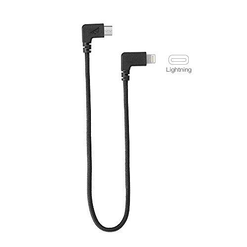Rantow Nylon Video Daten Blitz/Type-C auf USB Kabel für DJI MAVIC Pro/DJI SPARK Drone Fernbedienung (29cm Lightning Black) -