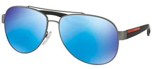 Prada Sport Herren 0PS55QS DG15M2 62 Sonnenbrille, Grau (Gunmetal Rubber/Light Green Blue),
