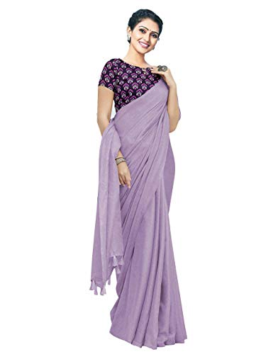 Miraan Womens Cotton Blend Printed Saree With Blouse Piece  W02_Purple