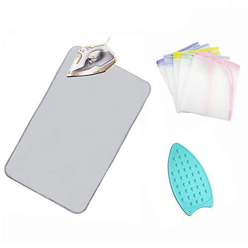 Stiratura coperta tappetino da bagno, portatile, con panno pad, e pressa da stiro in silicone resistente al calore, stiratura pad copertura in rete per lavatrice, asciugatrice, da tavolo