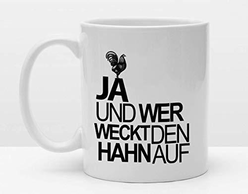 Spruch Tasse | Der Hahn | Cooler Becher | Kaffeetasse | Bedruckt mit Motiv | Kurzer Spruch | Humor | Kleines Geschenk | Guten Morgen Morgen Hahn