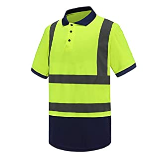 AYKRM Hi-Vis Viz Visibility Safety Work Polo Shirt hi vis Polo Shirt (Yellow, M)