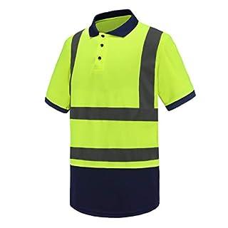 AYKRM Hi-Vis Viz Visibility Safety Work Polo Shirt hi vis Polo Shirt (Yellow, L)