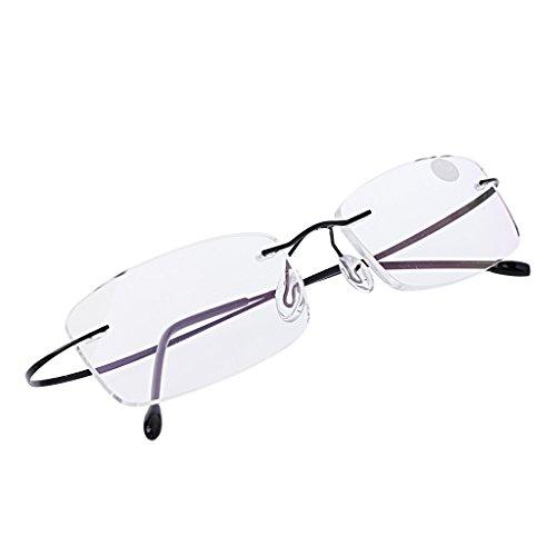 Kalttoy Ultraleichtes Titan randlose rechteckige Brille Brille Brillengestell Brillen (Schwarz, 1.0)