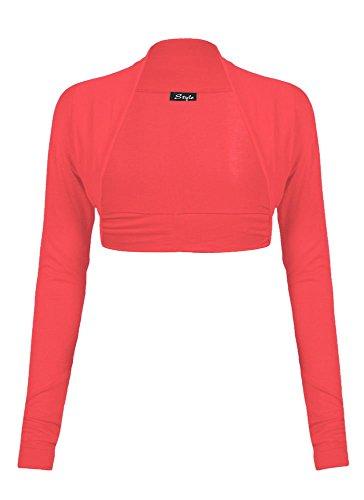 Fast Fashion - Cardigan Haut Manches Longues Plaine De Taille Plus Boléro Haussement - Femmes Corail
