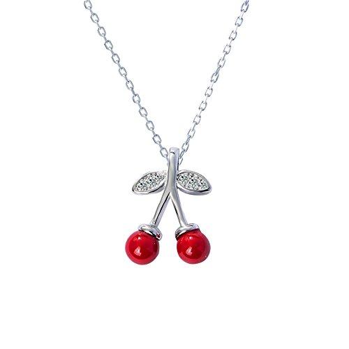 KOMO Sweet cherry, Sterling Silber Halskette collarbone Kette Kurz, Rot Mädchen, Anhänger Zubehör personalisierte Startseite Einrichtung