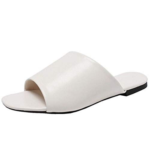 TAOFFEN Damen Flach Pantoletten Mules Sandalen Peep Toe Pantoffeln Sommer Strand Schuhe Beige Gr 39 Asian