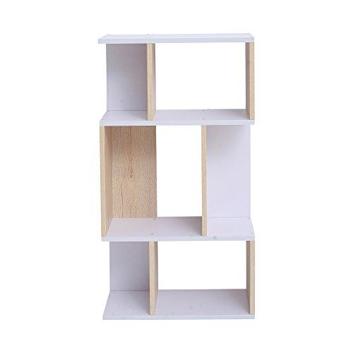 Mobili rebecca® libreria scaffale 4 ripiani legno chiaro bianco design contemporaneo ufficio sala (cod. re4824)