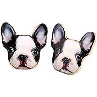 Selia Bully Ohrring Französische Bulldogge Ohrstecker minimalistisch Hund schwarz weiß Dog animal handgemacht Modeschmuck Schmuck, studs geschenk