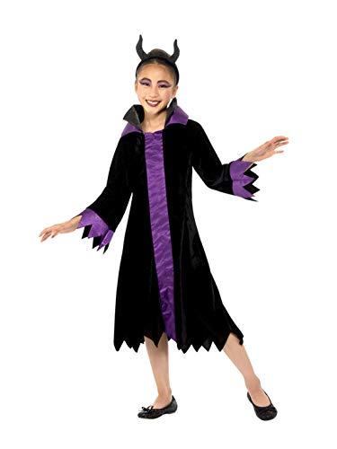 Halloweenia - Mädchen Kinder böse Königinnen Hexen Kostüm, Evil Queen, Kleid mit Haarschmuck, perfekt für Halloween Karneval und Fasching, 140-152, Schwarz