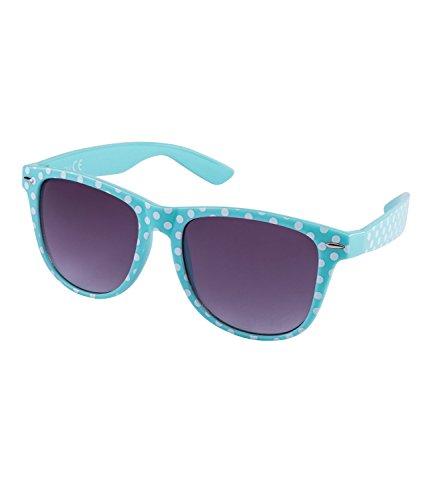 SIX 'Trend Retro Sonnenbrille in türkis mit weißen Polkadots (324-244)