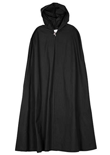 Mittelalter Umhang mit Kapuze Damen Herren Kostüm Kleidung LARP Wikinger Schwarz (Kostüm Kapuze Die)