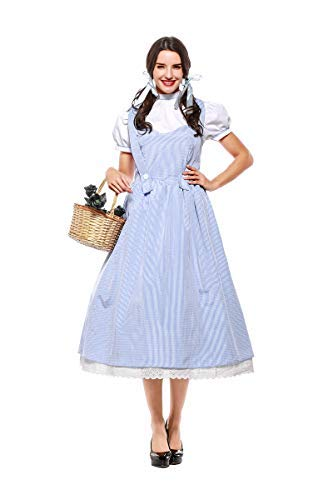 Zauberer Sexy Der Oz Von Kostüm - Fanessy. Mädchen Damen Dorothy Blue Plaid Kleid Vintage Halloween Dress-up Outfit Zauberer von Oz Kostüm Kind Erwachsene Verkleidung Cosplay Outfits für Fasching Halloween Karneval Party