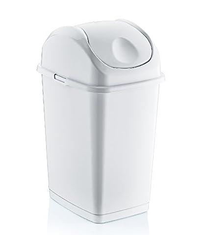 10 Litre Stolmet Slim High Grade Plastic Flip Top Swing Dustbin Waste Bin with Lid (WHITE)