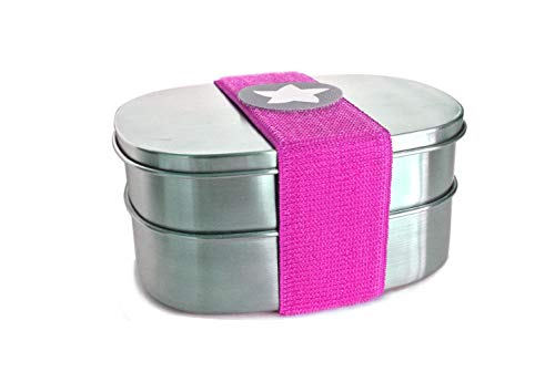do dotty Doppel BOX schadstofffreie Edelstahl Brotdose Doppeldose (16,5x12x7,5) eine Dose mit und eine ohne Trennsteg + Klettmotiv zum individualisieren für Kindergarten und Schule (pink)