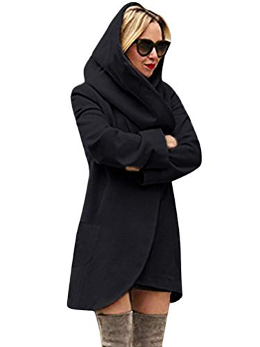 Tomwell Donna Autunno Inverno Elegante Cardigan Maniche Lunghe Cappotto Coat Parka Outwear Top con Due Tasche Nero IT 44