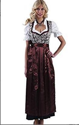 Clearlove Dirndl 3 tlg.Trachtenkleid für Oktoberfest,Kleid,Bluse,Schürze,Gr.34-46,Braun,Rosa