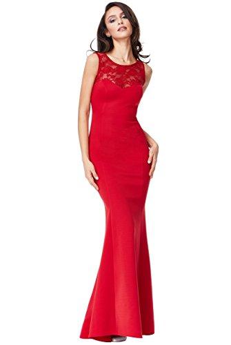 Ssyiz Vestidos Elegante Chiffón Mujer Dama de Honor de Boda de Noche de Fiesta(Privado Personalizado) (S-38, Rojo)