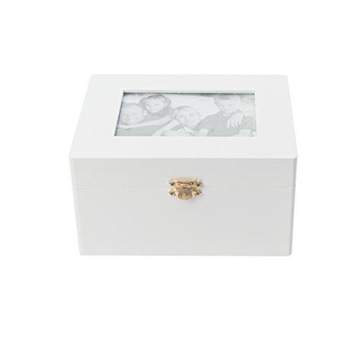 elbmöbel 9,5x18x14cm Kiste Truhe weiß Holz Schmuckkiste Bilderrahmen Box Schmuck shabby Rahmen Foto